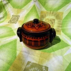 Big Clay Crock 900ml Pattern Caramel Color