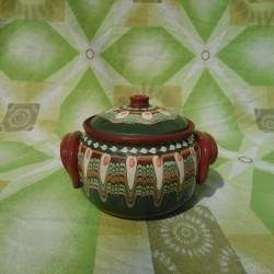 Clay Crock Big 1000ml Green Color - Troyan Hand Made Ceramics