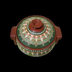 Big Clay Crock 5 liters Green Color - Troyan Hand made vintage ceramics new