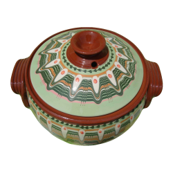 BIG CLAY CROCK 5 Liters RESEDA Green Color - Troyan Hand Made Vintage Ceramics New