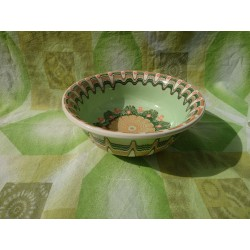 CERAMIC SALAD CUP Classic Pattern RESEDA Green Color