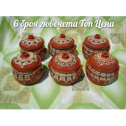 Clay Crocks set - 650 ml. Troyan pattern - 6 pcs. TOP Price